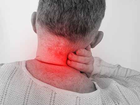 man sore neck symptom male, treatment, vertebral 版權商用圖片
