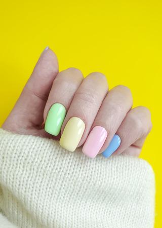 female hand colored manicure sweater elegant clothing