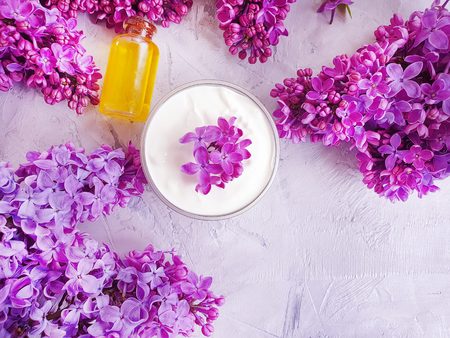 cosmetic cream, oil lilac flower