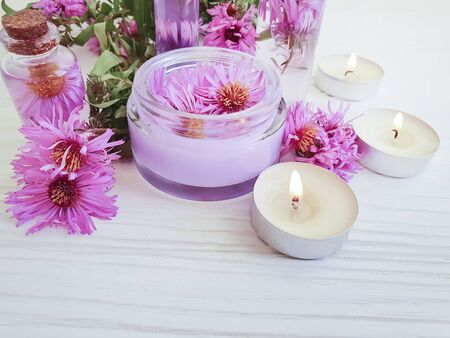 cosmetic cream, flower chrysanthemum candle