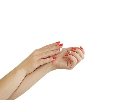 female hand manicure red isolated relaxation style Stok Fotoğraf