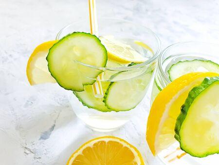 water with lemon, parsley on a gray concrete Zdjęcie Seryjne