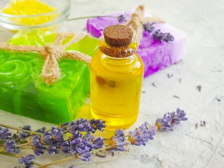 cosmetic oil, soap, lavender flower