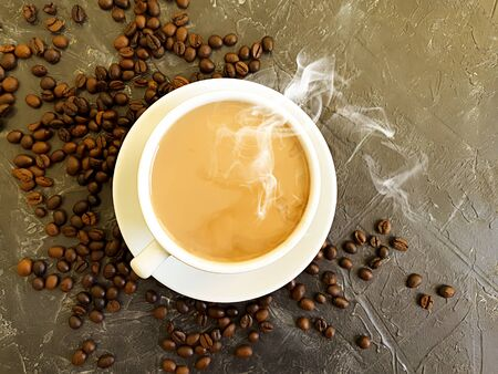hot cup of coffee on concrete background Imagens