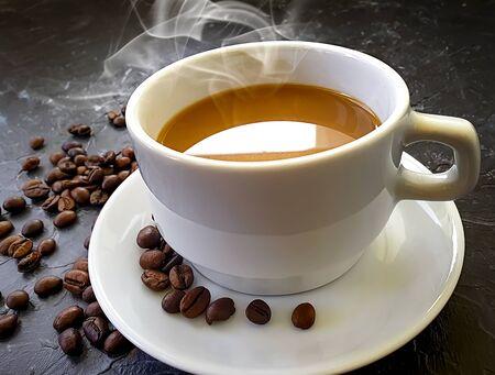 hot cup of coffee on concrete background Reklamní fotografie