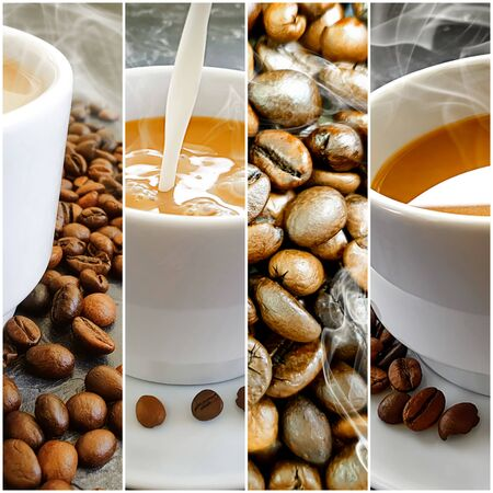 fresh coffee on concrete background collage