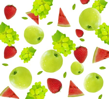 apple, grape, strawberry is isolated on a white background