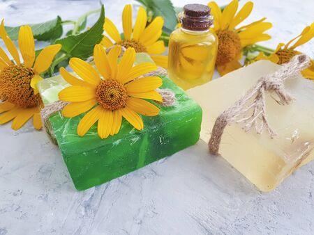 cosmetic oil, soap flower calendula