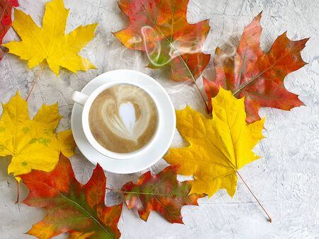 cup of coffee autumn leaves