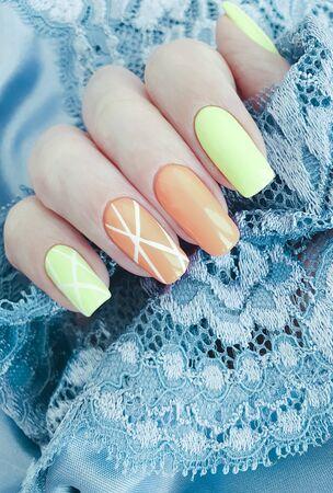 female hand beautiful lace manicure 스톡 콘텐츠