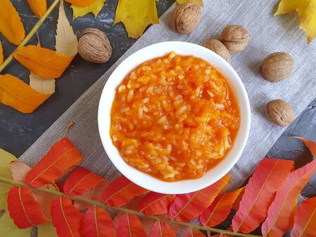 pumpkin porridge autumn leaves