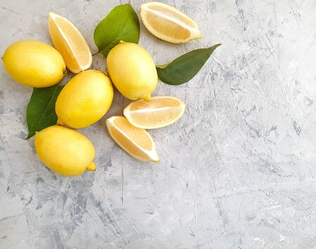 fresh lemon on a concrete background citrus