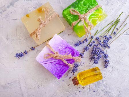 cosmetic soap, oil lavender flower