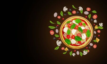 pizza, olives, tomatoes fly ingredients concept creative Imagens