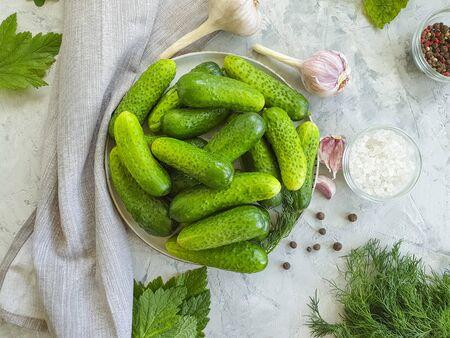 pickled cucumbers, garlic on a concrete 写真素材