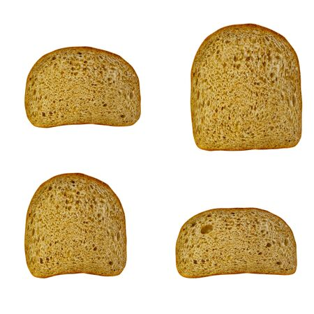 piece of bread is isolated on a white background