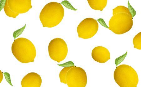 whole lemon pattern on a white background