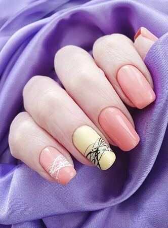 female hand nail beautiful manicure silk elegance