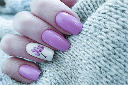 female hand beautiful nail manicure design