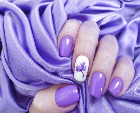 female hand beautiful nail manicure design Stock Photo