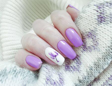 female hand beautiful nail manicure design shellac