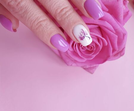 female hands beautiful manicure rose flower lifestyle