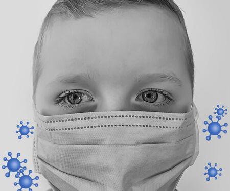 child caucasian boy in medical mask 写真素材
