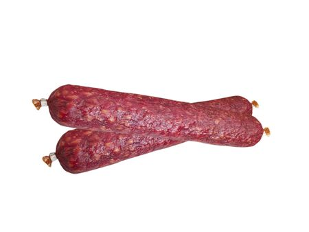 Salami sausage isolated ingredient, red, protein, cholesterol