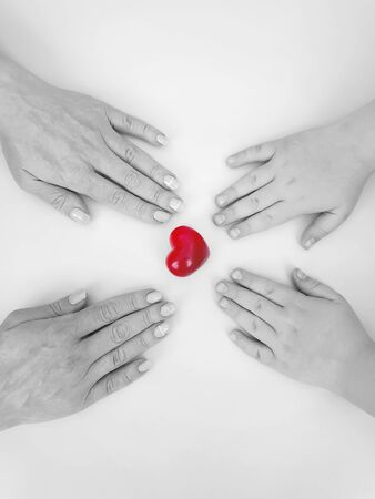 hand mom and son heart background charity