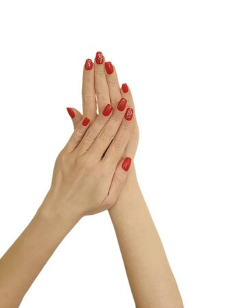 female hands manicure isolated on a white background