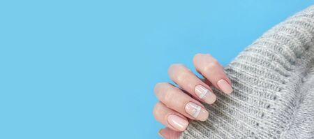 female hand nail beautiful manicure sweater fingernail