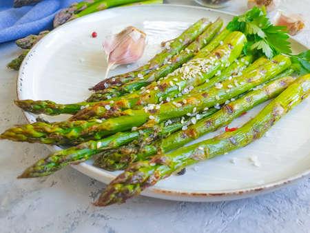 fried asparagus on a concrete background Zdjęcie Seryjne