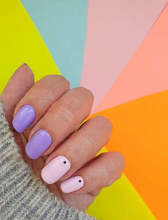 female hand beautiful stylish manicure sweater Zdjęcie Seryjne