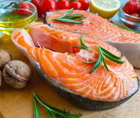 red fish on concrete background preparation seafood Stock Photo