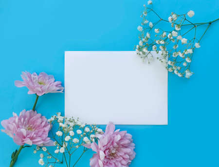 envelope, flower on a colored background beautiful