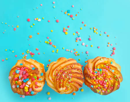 sweet cake on a colored background