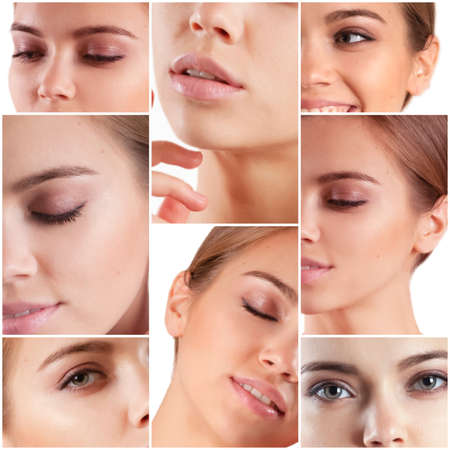 Beautiful woman face close up collage
