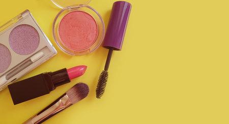 different decorative cosmetics on a colored background Reklamní fotografie