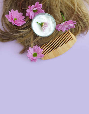 hair flower on a colored background Imagens