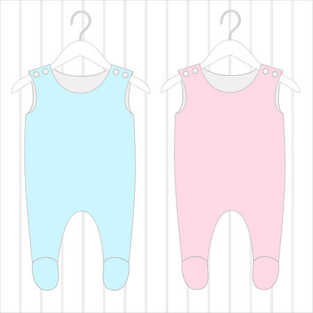 romper: Babys wear, elements a childrens of clothes and clothes hanger. Illustration