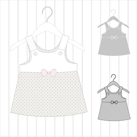 clothes rack: Dress for a little girl, elements a childrens of clothes and clothes hanger. Illustration