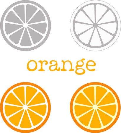 citron: Orange to cartoon style bright color and stylized image orange to gray color. Illustration