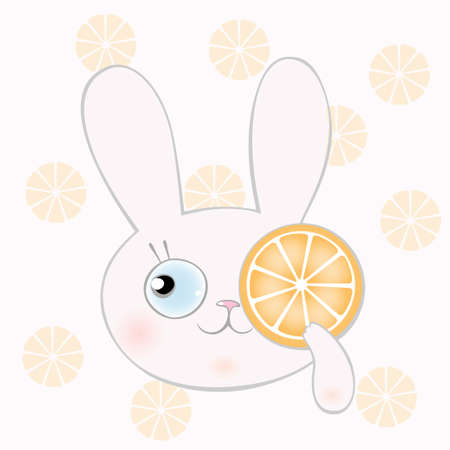pastel color: Bunny with orange to cartoon style pastel color and bright color Illustration