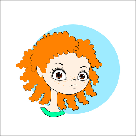 fitness instructor: Vector cartoon image of face cute little girl with curly red hair.
