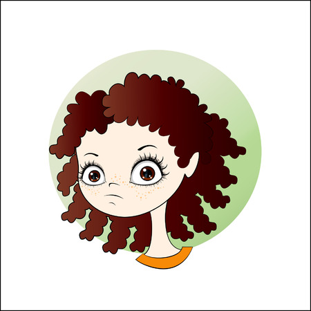 fitness instructor: Vector cartoon image of face little cute girl with curly dark hair