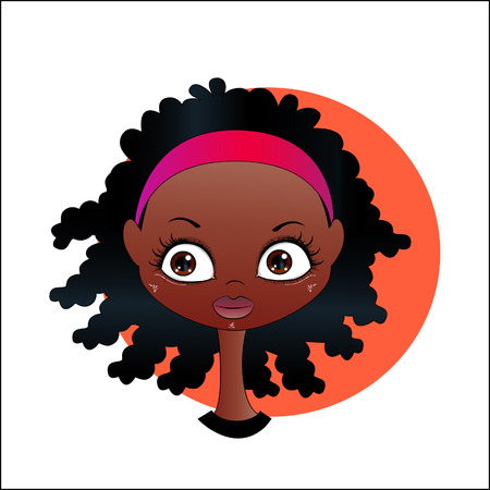 wealthy lifestyle: Vector cartoon image of face smiling cute African girl with black curly hair and a headband.