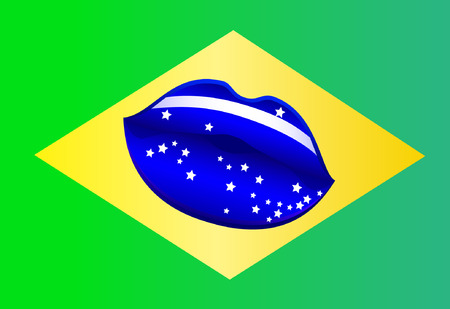 brazilian flag: Vector illustration on the theme of the Brazilian flag.