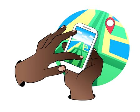 smartphone in hand: Hands holding Mobile with Gps Navigation. Mobile Gps Navigation with map and icon. Mobile gps navigation concept. Concept mobile Gps Navigation vector illustration. Mobile Gps Navigation technologies.