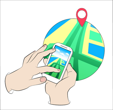 navigator: Hands holding Mobile with Gps Navigation. Mobile Gps Navigation with map and icon. Mobile gps navigation concept. Concept mobile Gps Navigation vector illustration. Mobile Gps Navigation technologies.