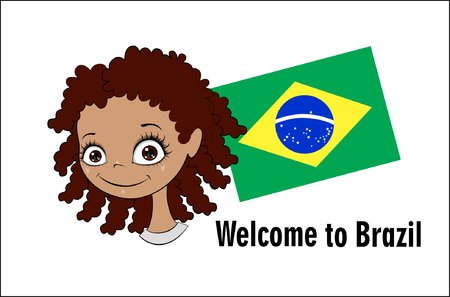 Vector banner Welcome to Brazil. Brazilian child greets participants of sports competitions. Elements of the Brazilian flag and the inscription. Illustration